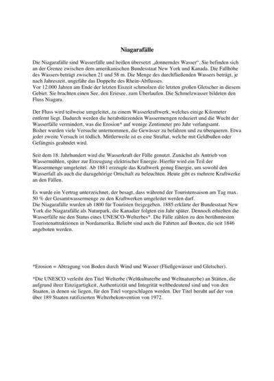 Textverständnis – Thema Niagarafälle