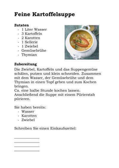 Alltagsorientierte Aphasie-Therapie: Kartoffelsuppe