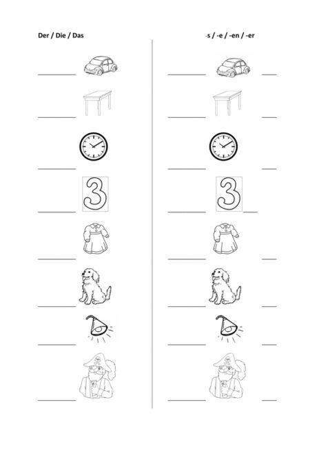 Arbeitsblatt zur Genus- und Numerus-Markierung