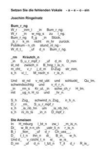 Einsetzübung: Vokale bei Ringelnatz