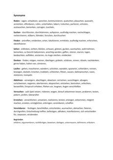 Wortliste: Synonyme Verben