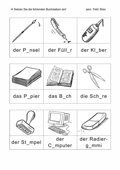 Phonematisch-semantische Übung: Büro