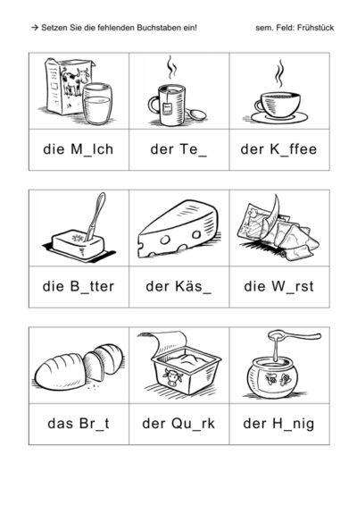 Phonematisch-semantische Übung: Frühstück