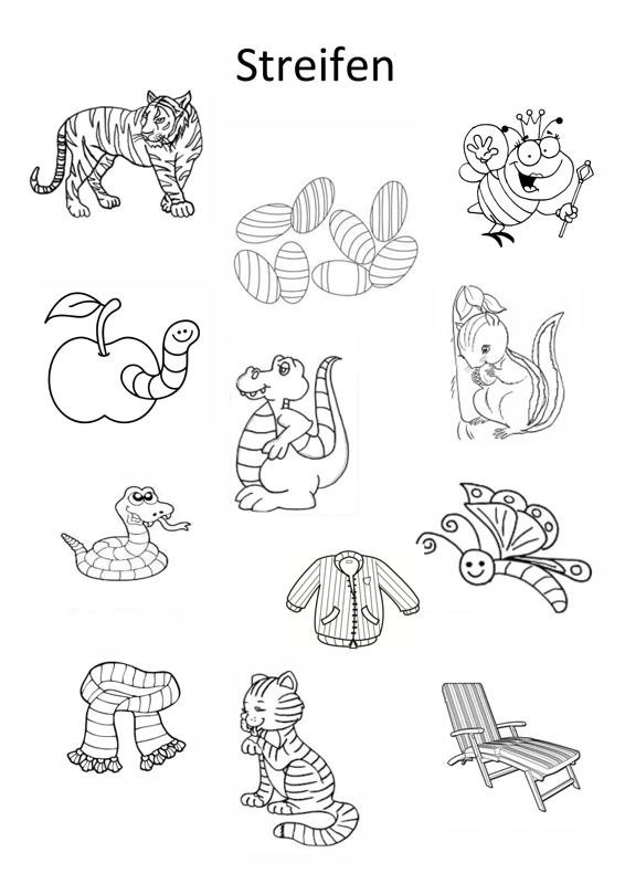Bildkarten: Dinge mit Streifen