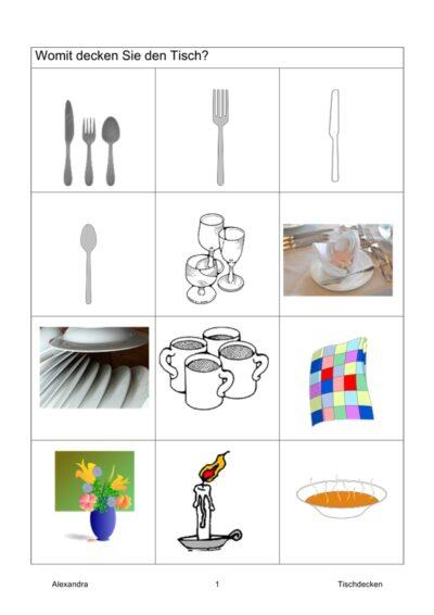 Semantisches Feld: Tischdecken