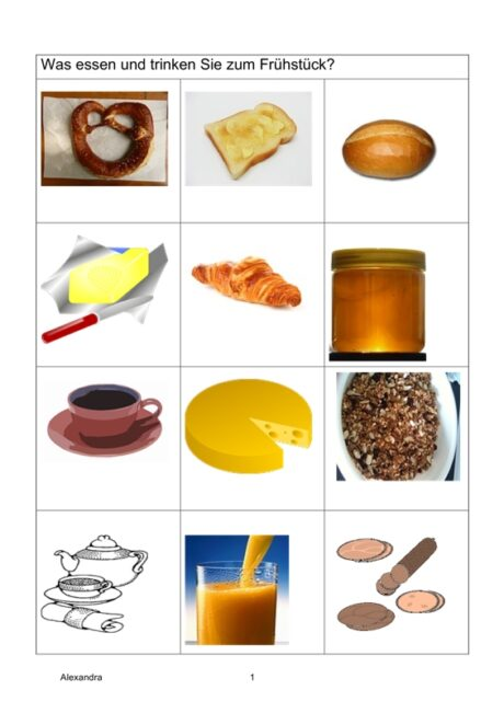 Semantisches Feld: Frühstück