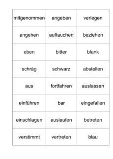 Wortkarten: Homonyme – Verben und Adjektive