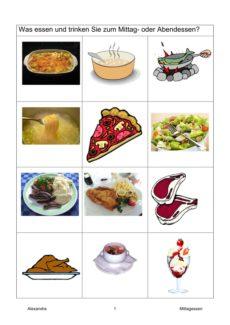 Semantisches Feld: Mittagessen