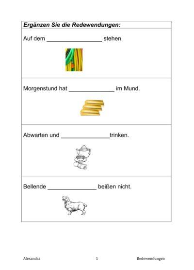 Satzergänzung Sprichwörter