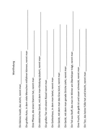 Wortfindung durch Satzergänzung