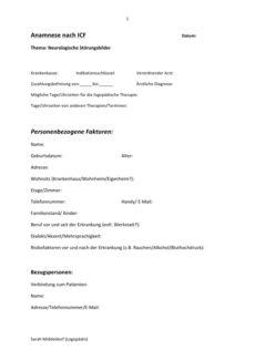 Anamnese nach ICF für neurologische Störungsbilder