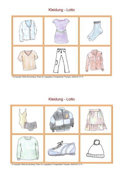 Spiel: Lotto im semantischen Feld Kleidung