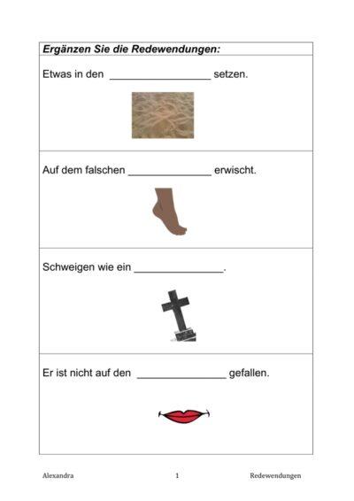Satzergänzung Sprichwörter (2)