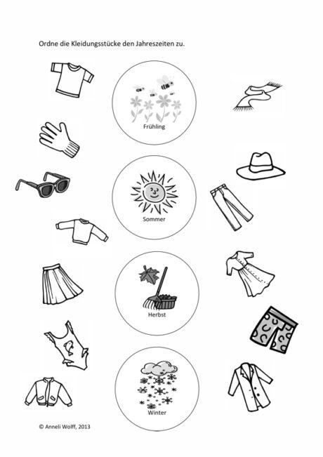 Jahreszeiten Und Kleidungsstücke Sprache Madoo Net