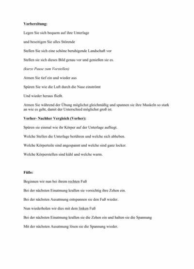 Progressive Muskelentspannung (PMR) – Text