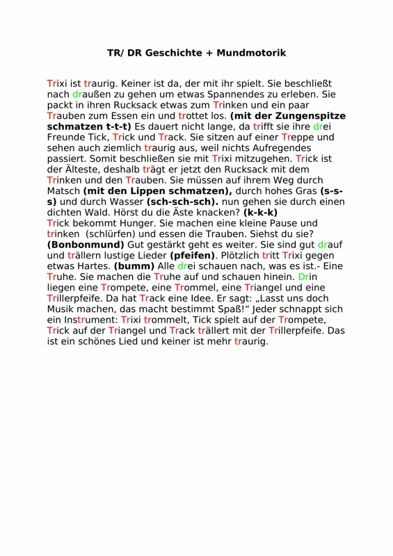 Geschichte zu tr/dr und Mundmotorik