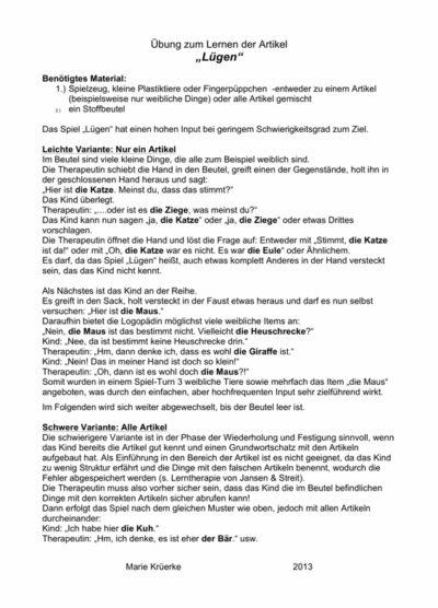 """Artikel-Spiel """"Lügen"""""""