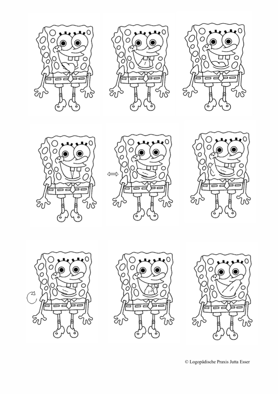 Mundmotorikkarten Zunge: Spongebob