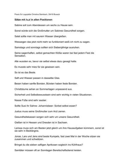 Sätze für die Sigmatismus-Therapie