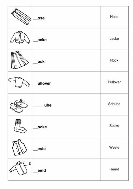Lückenwörter Kleidung
