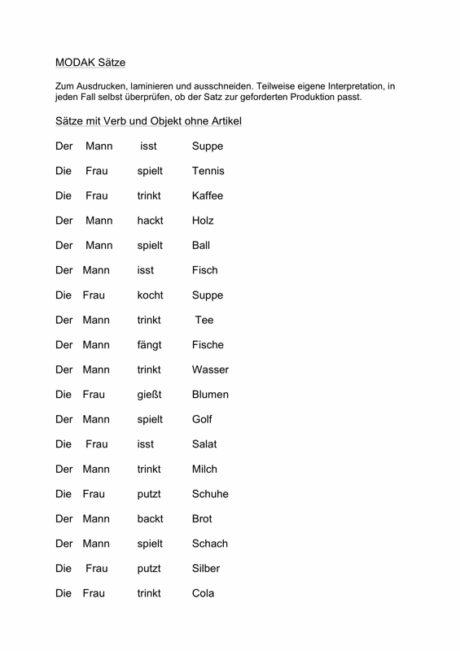 MODAK Sätze