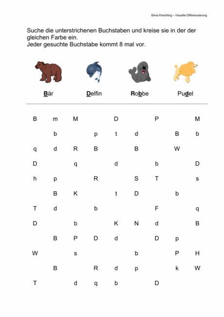 Arbeitsblatt – Visuelle Differenzierung B, D, b, d