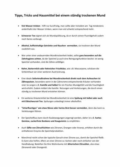 Tipps gegen Mundtrockenheit (Xerostomie)