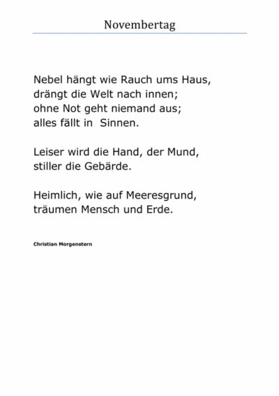 Gedicht: November von Chr. Morgenstern