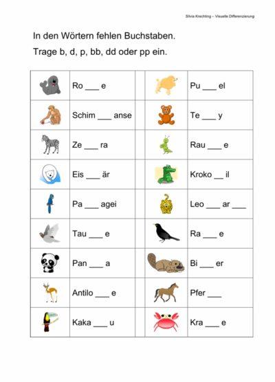 Arbeitsblatt zur Differenzierung von b, bb, d, dd, p und pp