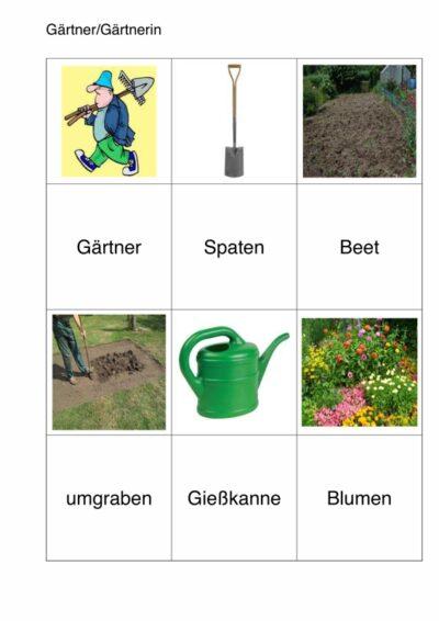 semantisches Arbeitsblatt für Aphasie-Patienten – Gärtner
