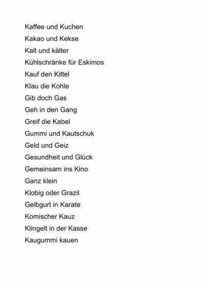Wörter mit K und G