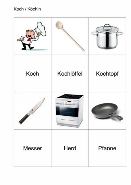 semantisches Arbeitsblatt für Aphasie-Patienten – Koch