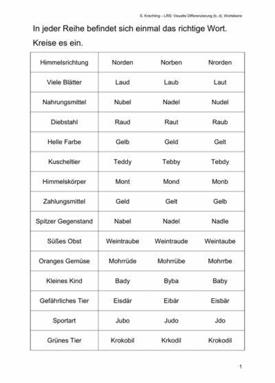 Arbeitsblatt zur visuellen Differenzierung von b und d auf Wortebene
