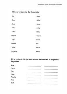 Arbeitsblatt zur Wortfindung – Phonologisches Output-Lexikon