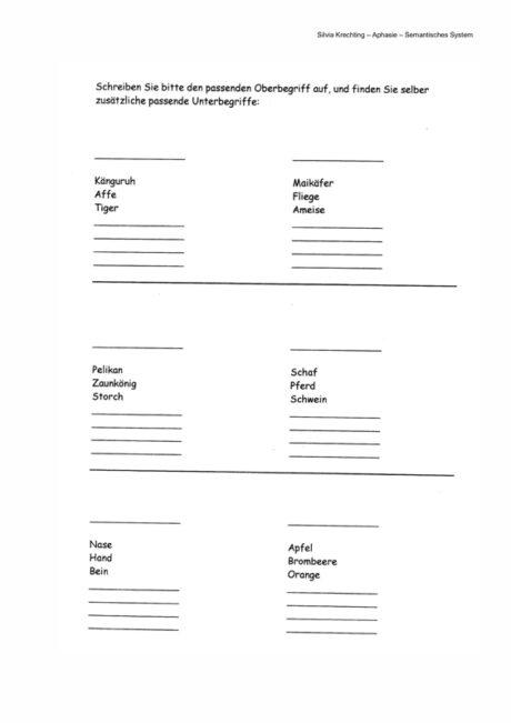 Arbeitsblätter Wortfindung