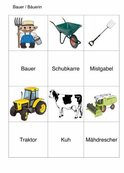 semantisches Arbeitsblatt für Aphasie-Patienten – Bauernhof