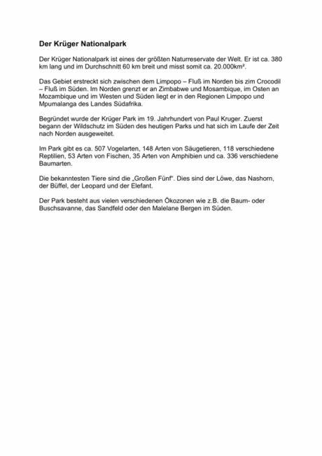 Textarbeit: Der Krüger Nationalpark