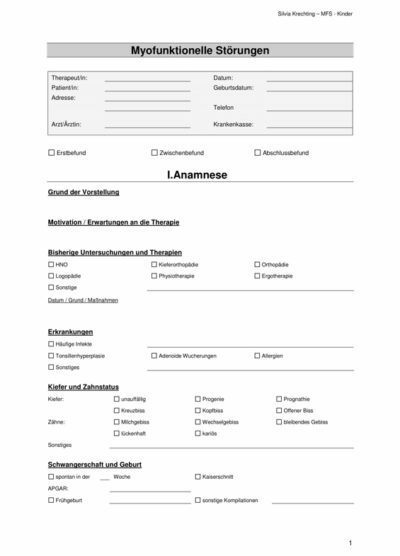 Anamnese- und Diagnostikbogen MFS