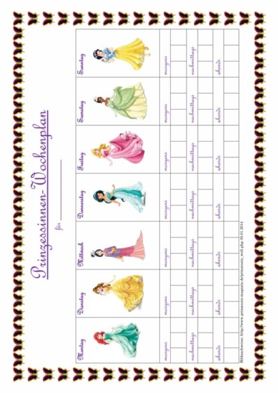 MFT-Wochenplan Prinzessin
