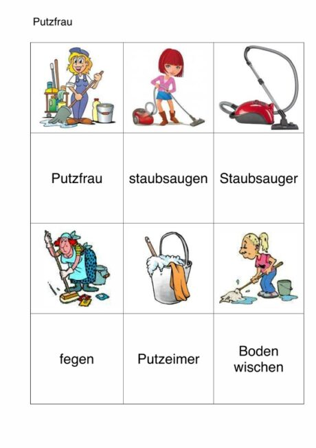 semantisches Arbeitsblatt für Aphasie-Patienten – Putzfrau
