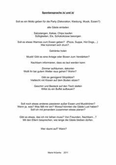 Spontansprache: Eine Party planen