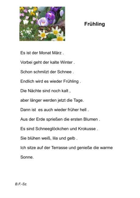 Text und Arbeitsblatt Frühling