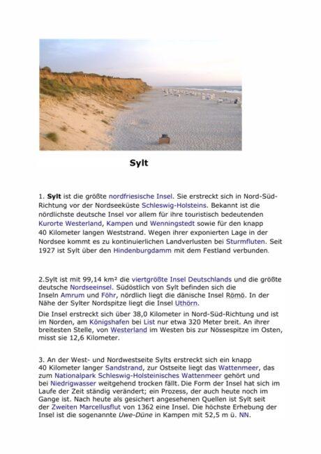 """Kontext-Arbeitsblatt """"Sylt"""""""