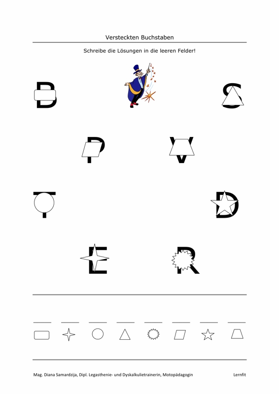 Versteckten Buchstaben - LRS - madoo.net