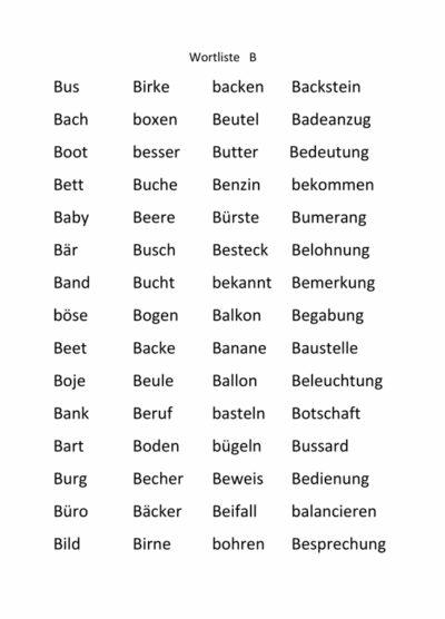 Wortlisten zu den Lauten b d g