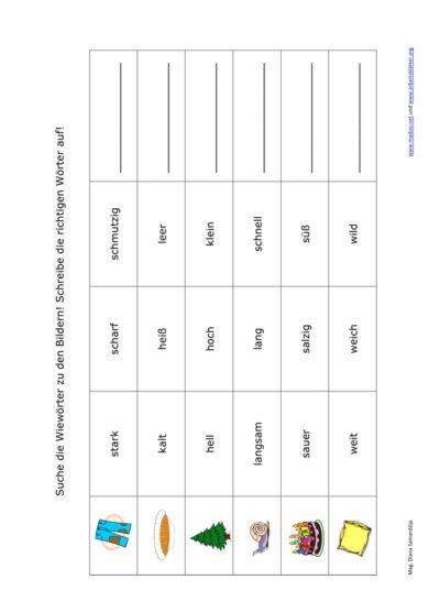 Wort-Bild-Zuordnung Adjektive