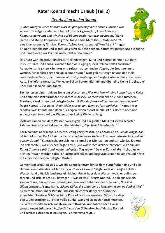 Kater Konrad Macht Urlaub Teil 2 Dyslalie Madoo Net