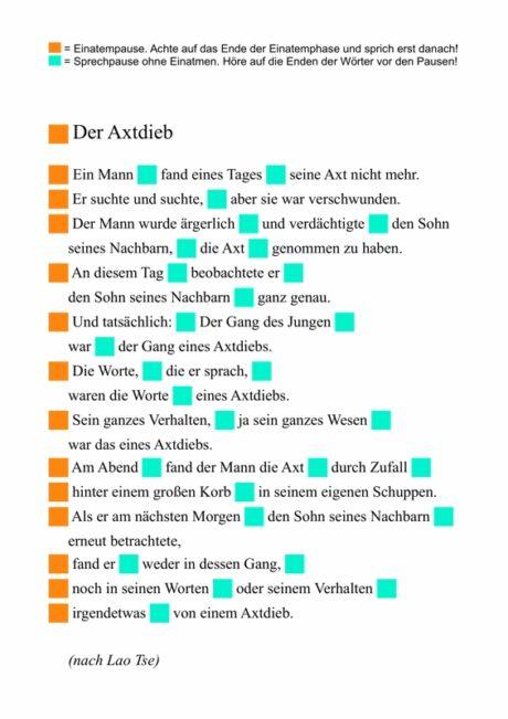 """Text """"Der Axtdieb"""" zum fraktionierten Sprechen"""