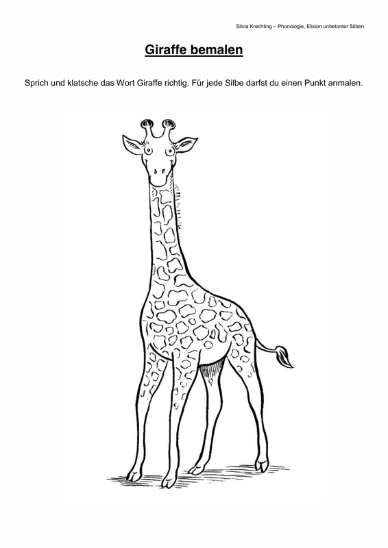 Therapiematerial Logop 228 Die Arbeitsblatt Giraffe Sprechen