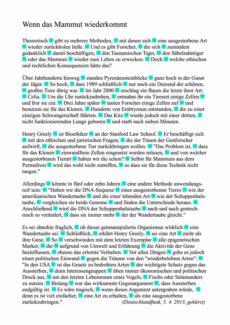 Text "Mammut" zum fraktionierten Sprechen